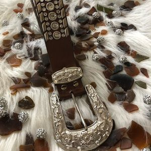 """Accessories - Copper Shimmer Silver Rhinestone Leather Belt 44"""""""
